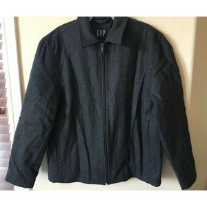 GAP Wool Blend Collared Quilt Lined Zip Up Jacket